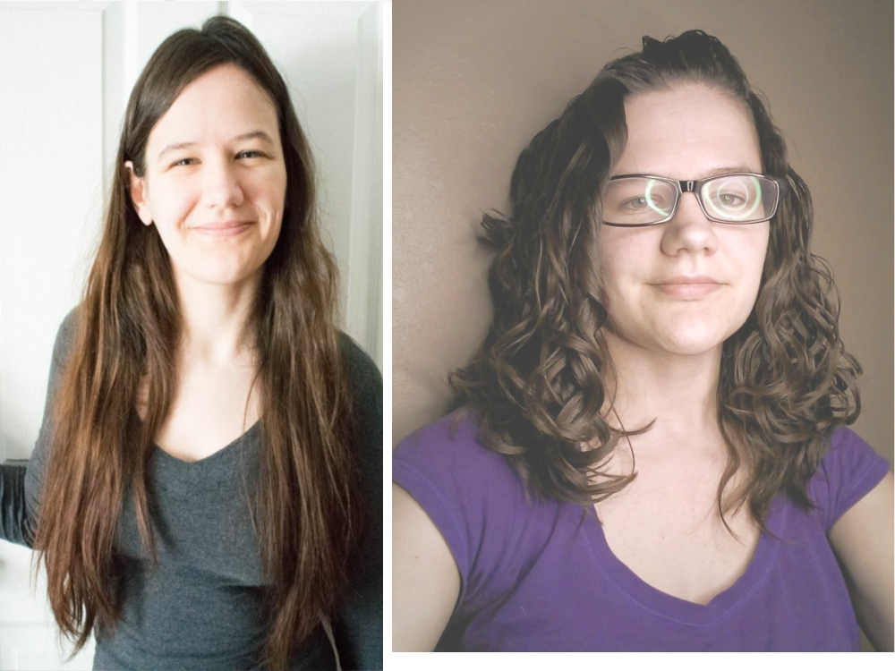 Before and after the curly girl method wavy hair