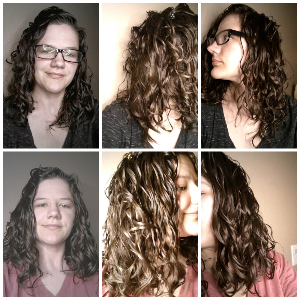 before and after gelatin protein treatment wavy hair