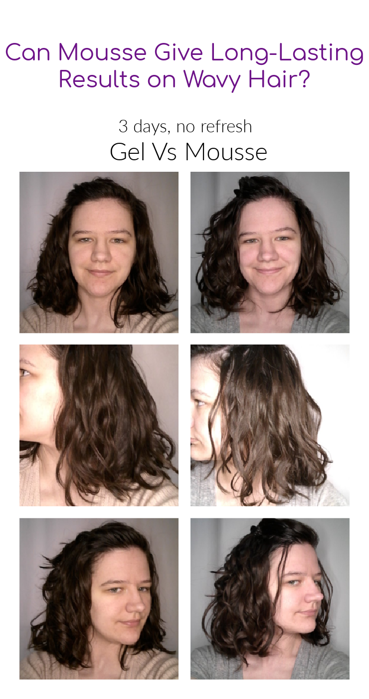 Day 3 hair after using gel vs mousse. Can results from mousse last as long as gel on wavy hair?