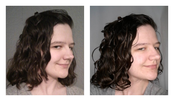 Wavy hair with and without mousse