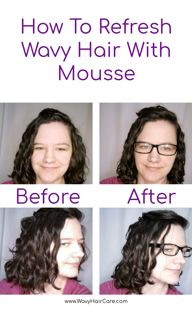 how to refresh wavy hair with mousse for day 2 or day 3 hair #curlygirlmethod