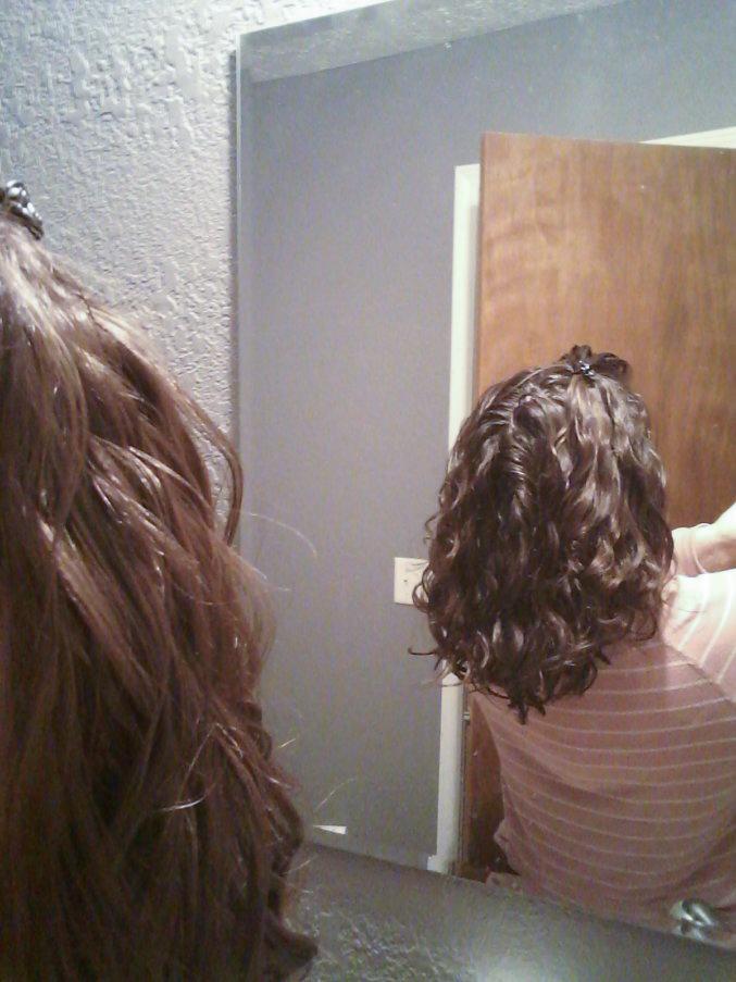 back of wavy hair