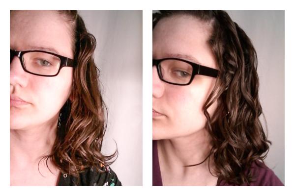 Scrunching hair a lot vs a little